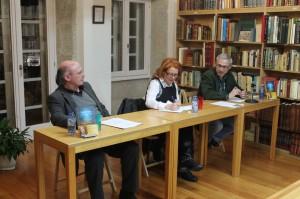 Presentación de A lúa da colleita na libraría Couceiro de Santiago de Compostela. 12 de marzo de 2014. Foto Helena Torres.